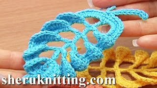getlinkyoutube.com-3D Crochet Leaf Tall Stitches Tutorial 28 Part 1 of 2 Complex Stitch Base