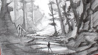 getlinkyoutube.com-Drawing a Manga Forest Landscape - Pencil