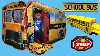 getlinkyoutube.com-Giant School Bus Wheels on the Bus Goes Round and Round  Thomas and Friends Toy Trains Disney Cars