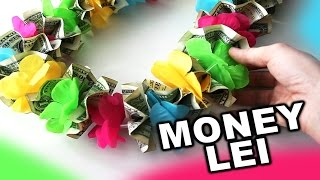 getlinkyoutube.com-How to make a money lei for graduation or wedding with colorful flowers