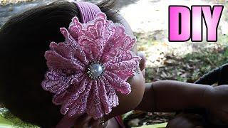 getlinkyoutube.com-Tiara de meia de seda com flor de renda   DIY-PAP