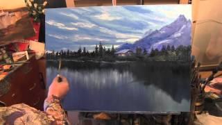 getlinkyoutube.com-Лес и горы у озера, живопись для начинающих, курсы в Москве