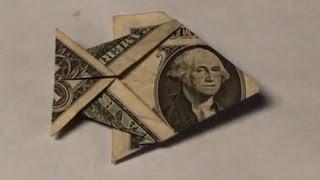 getlinkyoutube.com-Dollar Bill Origami Fish Tutorial - How to make an Easy Angelfish from Money - $1 Dollar Moneygami