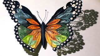 getlinkyoutube.com-Quilled butterfly - Papillon quilling - Mariposa de Papel