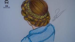 طريقة رسم الشعر مع ظفيرة مميزة بالرصاص والالوان الخشبية