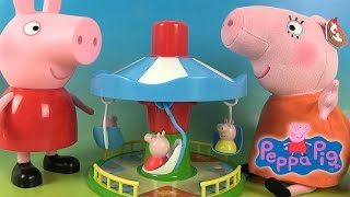getlinkyoutube.com-Peppa Pig Jouets Manège Le Carrousel de Peppa Fairground Ride Game Merry-Go-Round