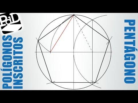 Pentágono regular inscrito en una circunferencia (polígono de 5 lados).