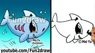 getlinkyoutube.com-How to Draw Easy - How to Draw a Shark - Draw Animals - Fun2draw
