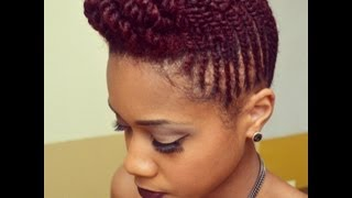 getlinkyoutube.com-Two Strand Flat Twist Natural Hair Pompadour Updo