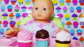 getlinkyoutube.com-American Girl Bitty Baby Tea party, play doh icecream shop and cake juegos de modelar