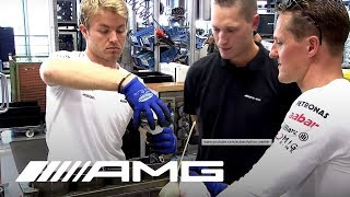 getlinkyoutube.com-Schumacher and Rosberg Build an AMG Engine