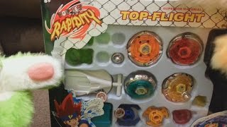 getlinkyoutube.com-Bootleg Beyblade Battle Tops - Rapidity Superior Material Top-Flight! - 2 Furries On A Couch