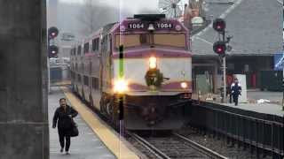 getlinkyoutube.com-MBTA Commuter Rail trains at Framingham, MA