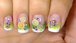 getlinkyoutube.com-Refresh Yourself ,Lemon Cocktail Fimo Fruits,Simple  Nail Design