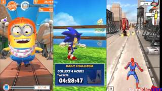 getlinkyoutube.com-MINION RUSH vs SONIC DASH vs SPIDER-MAN UNLIMITED - for iOS: iPhone / iPad, Android