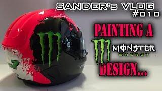 getlinkyoutube.com-Painting a Monster Energy design on a helmet - Sander's vlog 010
