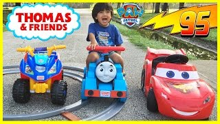 getlinkyoutube.com-PLAYTIME AT THE PARK Disney Cars Lightning McQueen Paw Patrol Thomas Power Wheels Egg Surprise Toys