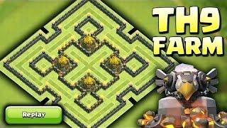 Clash of Clans CoC Best TH9 Hybrid Base Farming Base Defense Replays Dark Elixir Base