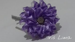 Como fazer flor de fita  /How to make  flower Diy , tutorial , pap By Iris Lima