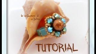 "getlinkyoutube.com-Tutorial Anello ""Spring"" con Superduo, Perla 8 mm e Bicono Swarovski, Tila Beads - DIY Ring Tutorial"