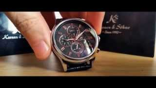 getlinkyoutube.com-KS Kronen & Söhne Imperial Silver Black Automatic Mechanical Watch Unboxing