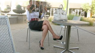 getlinkyoutube.com-Sexy Girl in Extreme High Heels Shopping at the Mall