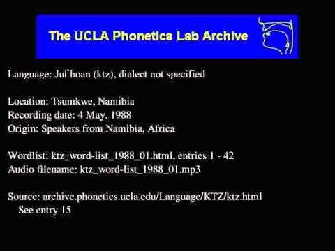 Ju|'hoan audio: ktz_word-list_1988_01