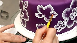 getlinkyoutube.com-Royal Icing Recipe for Brush Embroidery Cake - How To by CakesStepbyStep