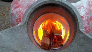 getlinkyoutube.com-Rocket stove pt 4 Firing it up!