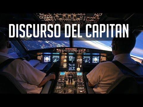 Divertido discurso del capitan a bordo de un vuelo internacional