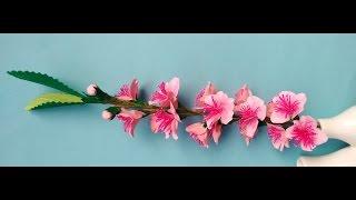 getlinkyoutube.com-Paper flowers - Peach Blossom (Flower # 64)