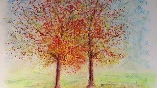 getlinkyoutube.com-Oil Pastels : Sweetgum Trees in Fall Foliage