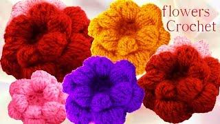 getlinkyoutube.com-Como tejer flores esponjosas pom pom a Crochet o Ganchillo