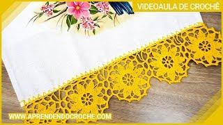 getlinkyoutube.com-Como aplicar o barrado de croche na toalha  - Aprendendo Crochê