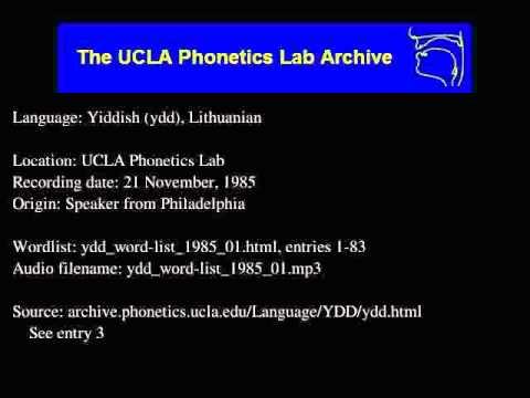 Yiddish, Eastern audio: ydd_word-list_1985_01