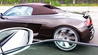 getlinkyoutube.com-Audi R8 V10 Spyder vs Nissan GTR *Autobahn RACE Sound*