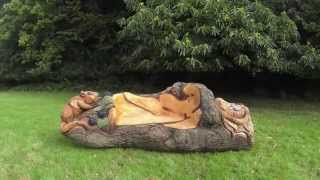getlinkyoutube.com-Chainsaw Dave: Time Lapse Chainsaw Dormouse Bench Carving