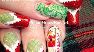 getlinkyoutube.com-Xmas Nail Art   Naughty Mrs. Clause Nails   Christmas Stockings Nail design