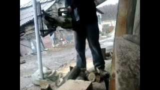getlinkyoutube.com-HOMEMADE LOG HOLDER FOR CHAINSAW : SUPORT BUSTENI PENTRU DRUJBA