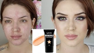 getlinkyoutube.com-Nyx Invincible Fullest Coverage Foundation ♡ First Impression/Review