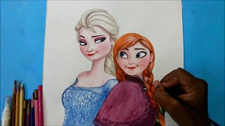 getlinkyoutube.com-how to draw Elsa and Anna together from Frozen movie-speed painting