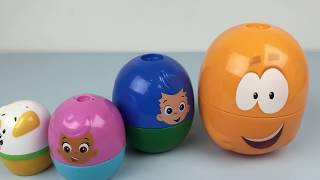 getlinkyoutube.com-Bubble Guppies Stacking Cups Chupa Chups Minnie Mouse Barbie Peppa Pig Surprise Ball Captain America