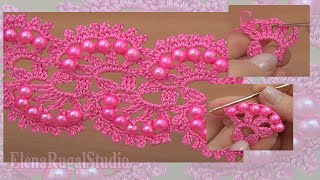 getlinkyoutube.com-How To Make Crochet Tape Lace With Beads Урок 27 Нежное ленточное кружево