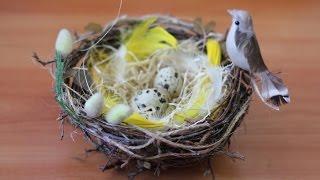 getlinkyoutube.com-Пасхальная композиция — Гнездо с птичкой. Мастер-класс