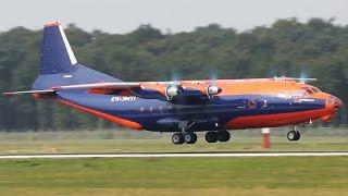 Smoking Antonovs - Antonov 12 Arrivals + waving Pilot (HD)