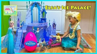 getlinkyoutube.com-GIANT Frozen Elsa's Ice Palace Castle Huge Egg Surprise Opening Frozen Toys Kristoff & Anna Doll