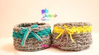 كروشية سلة او علبة بخيط التيشيرت اوالكليم مع طريقة عمل الخيط فى المنزل  \خيط وأبرة  \ Crochet basket