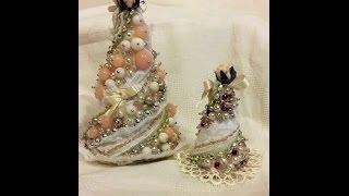 getlinkyoutube.com-DIY - Alberello di Natale Shabby Chic di perline - Christmas Tree ornaments
