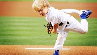 getlinkyoutube.com-5 year-old baseball kid Christian Haupt 2014 MLB All-Star Game commercial & best first pitches
