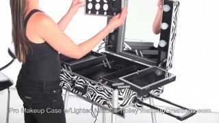 Lighted Makeup Case - Pro Makeup Case with Lighted Mirror and Built in Trolley